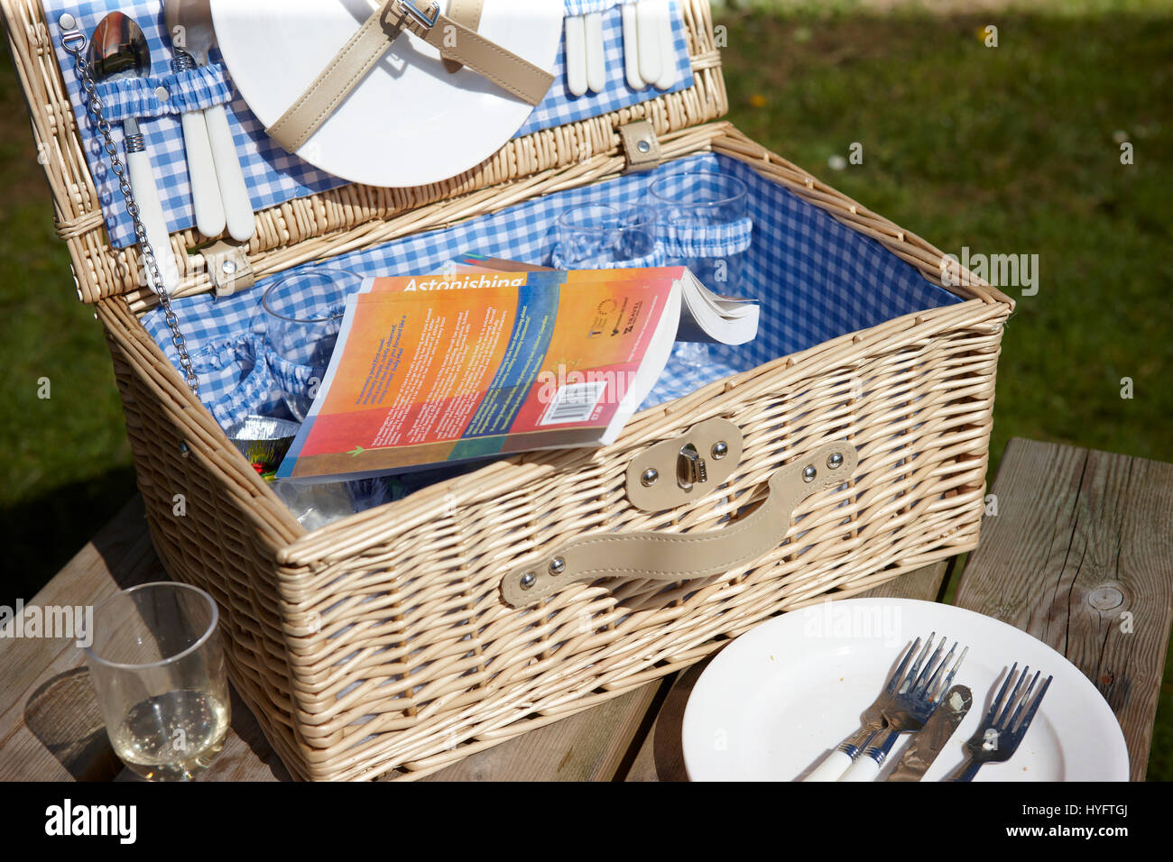 Orange book in a blue check wicker picnic basket, The Literary Festival, Laugharn, UK - Stock Image