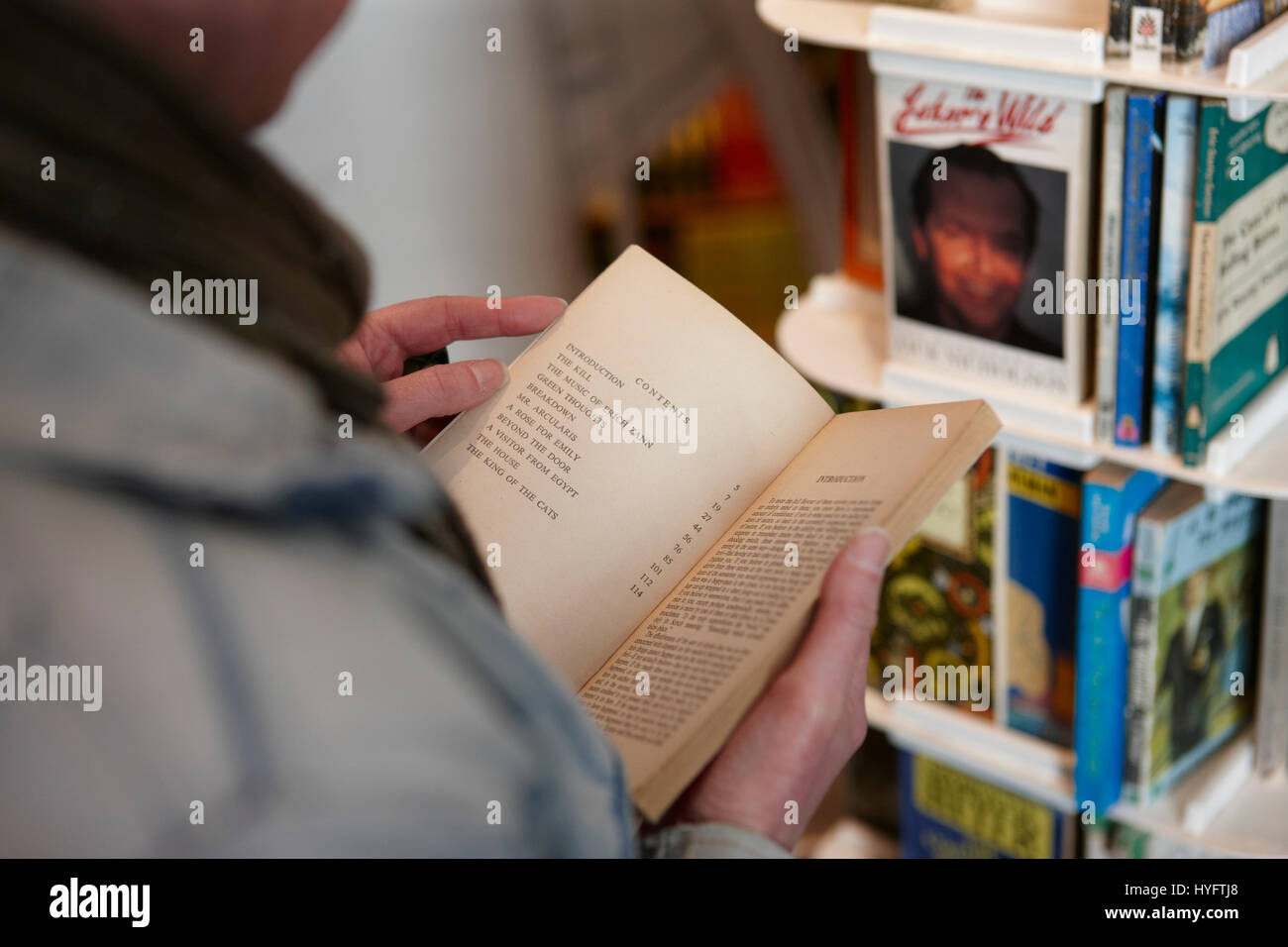 Person reading a book in a book shop, Book Festival, Laugharne - Stock Image