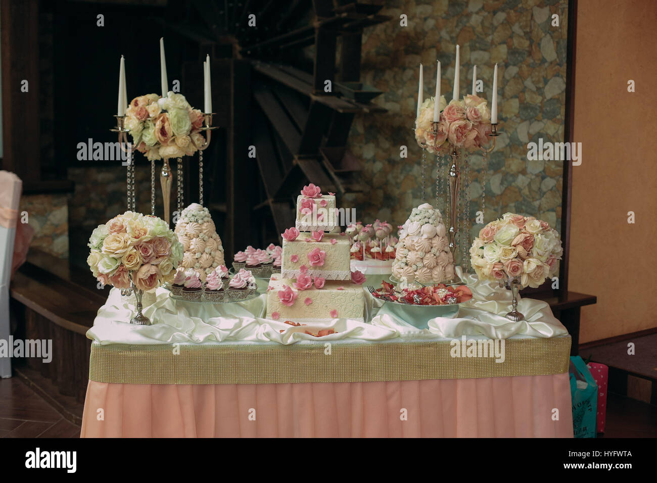 wedding cake in the banquet hall - Stock Image