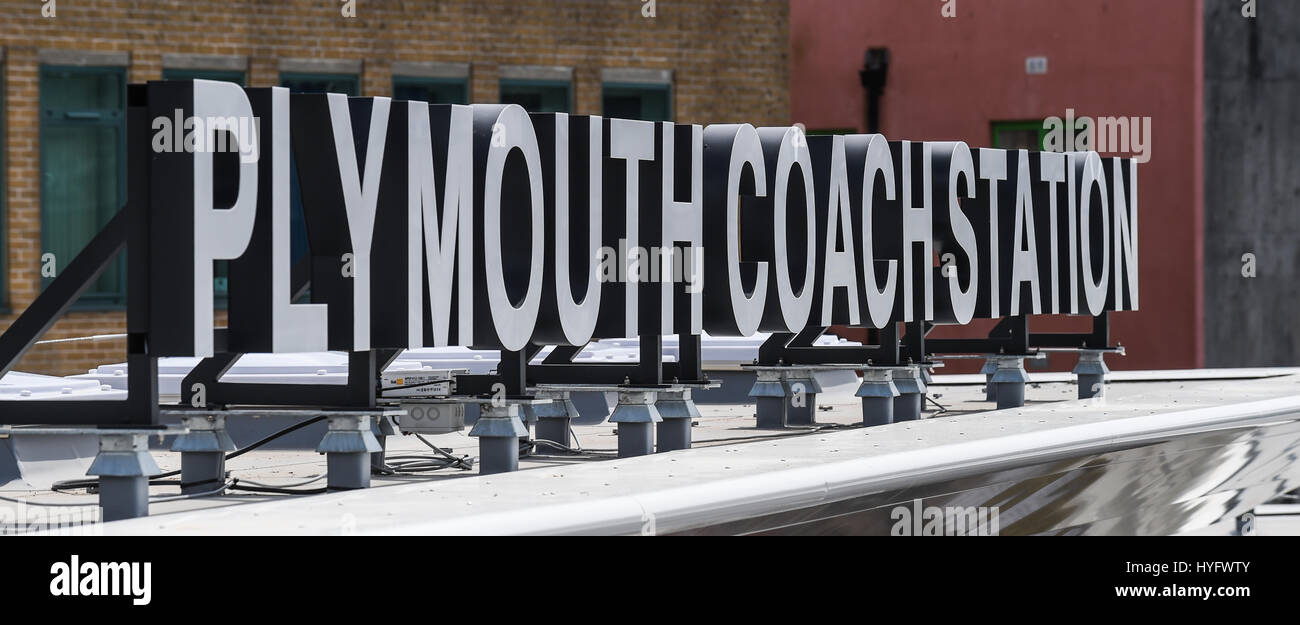Picture by Paul Slater/PSI - Copyrighted Image - Plymouth Coach Station sign - Devon, United Kingdom. - Stock Image