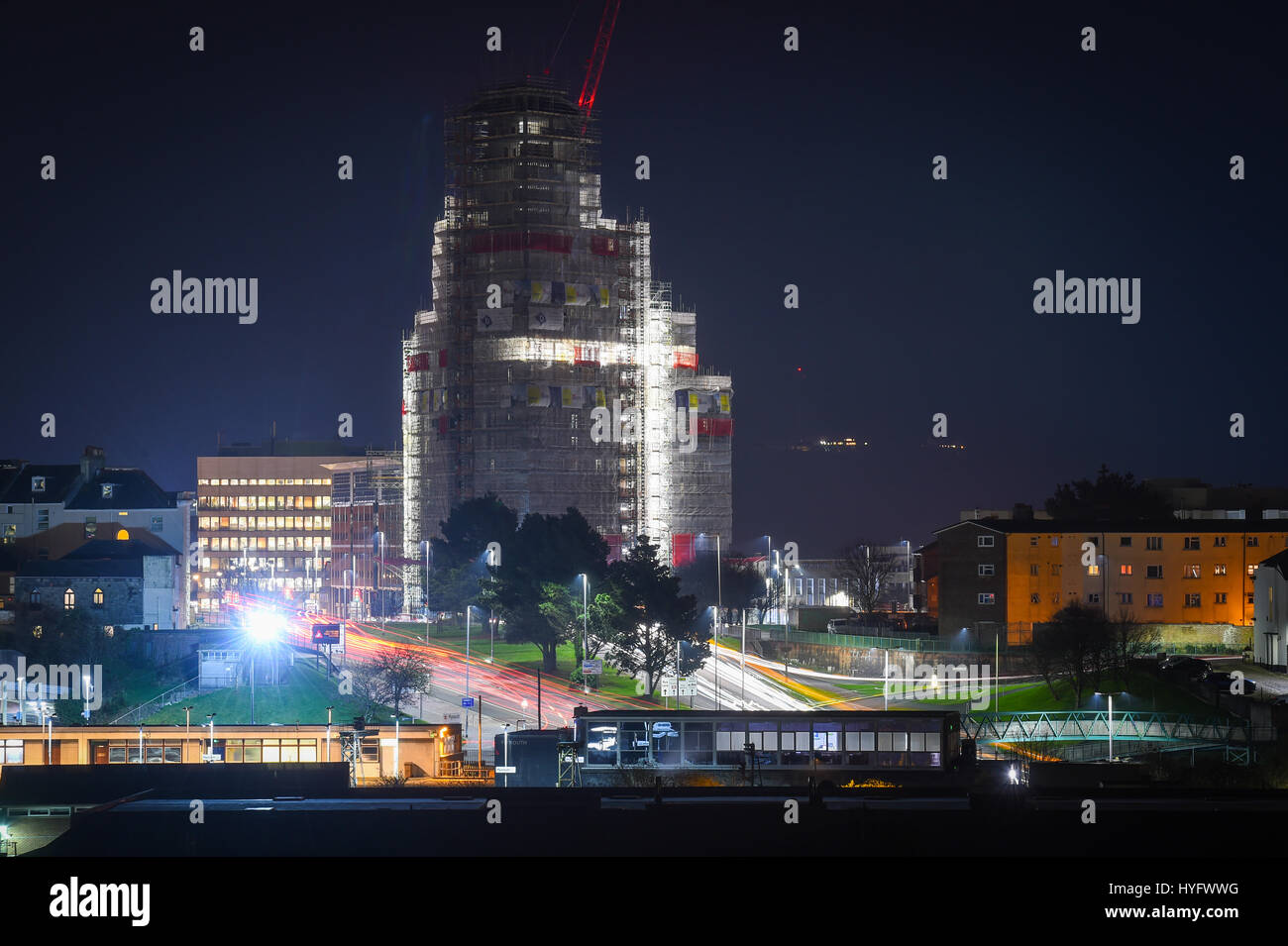 Picture by Paul Slater/PSI - Copyrighted Image Beckley Point building in Plymouth, Devon by night during construction. - Stock Image