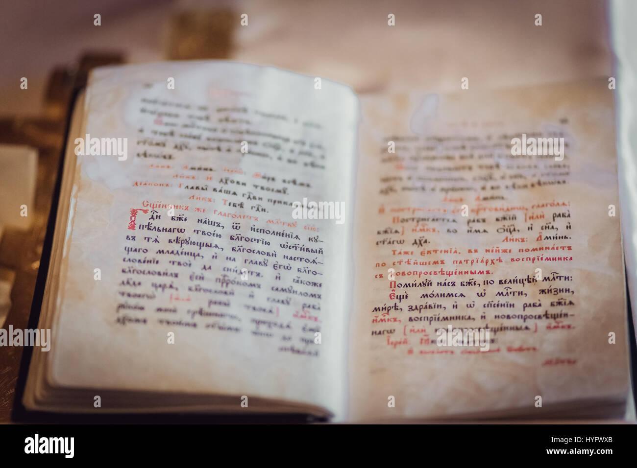 Orthodox book in Slavonic language - Stock Image