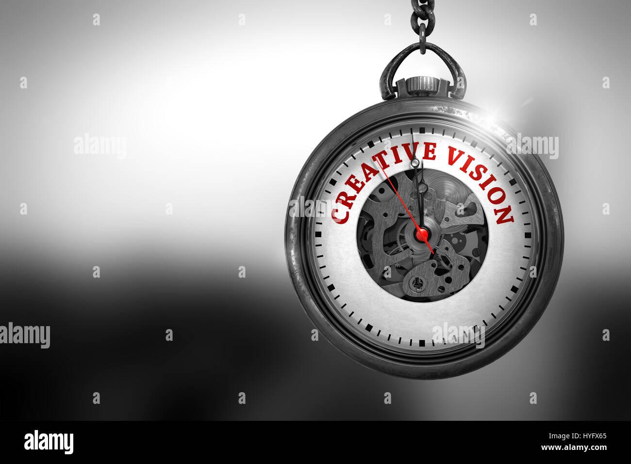 Creative Vision on Pocket Watch. 3D Illustration. - Stock Image