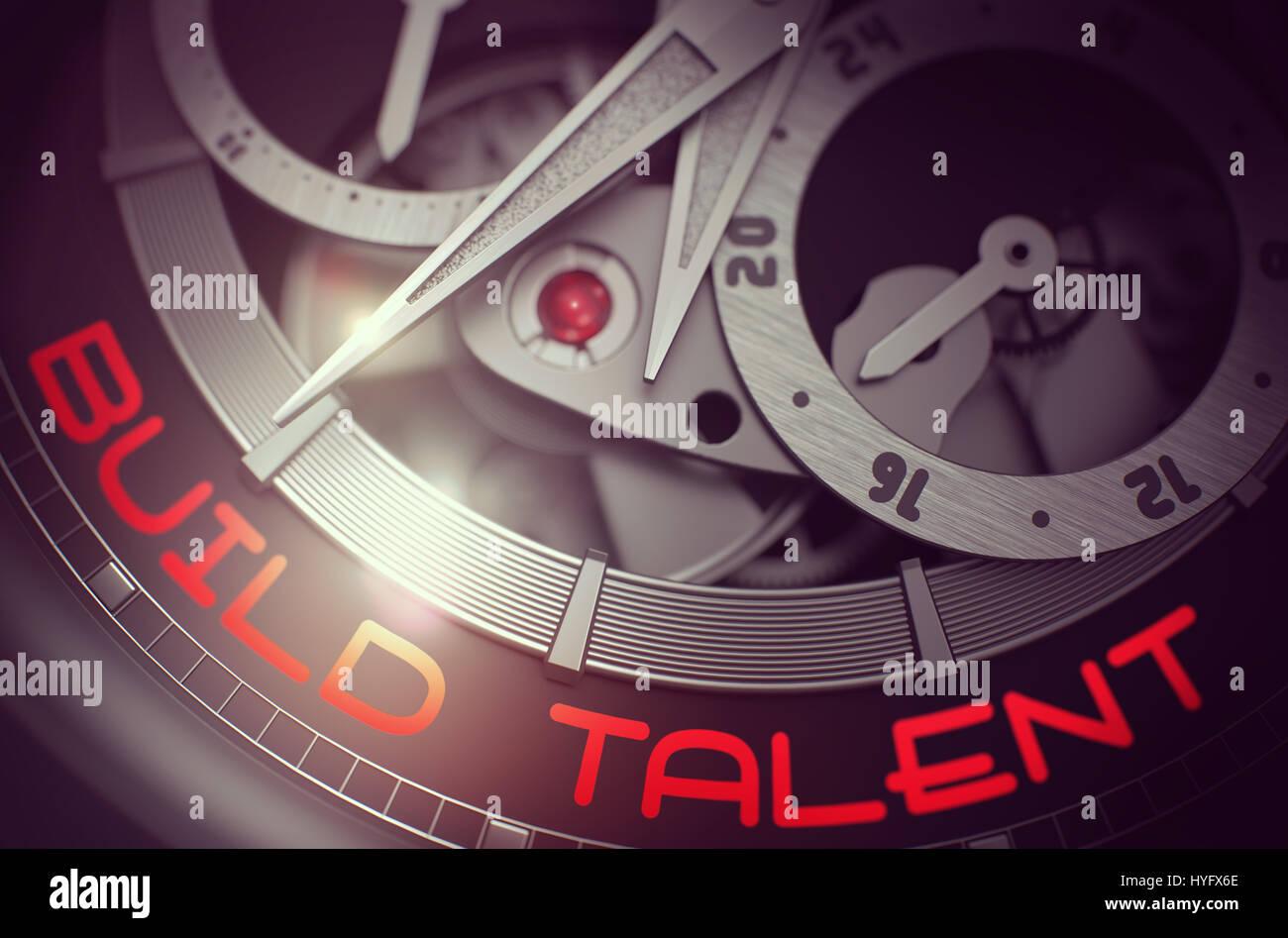 Build Talent on the Fashion Wrist Watch Mechanism. 3D. Stock Photo
