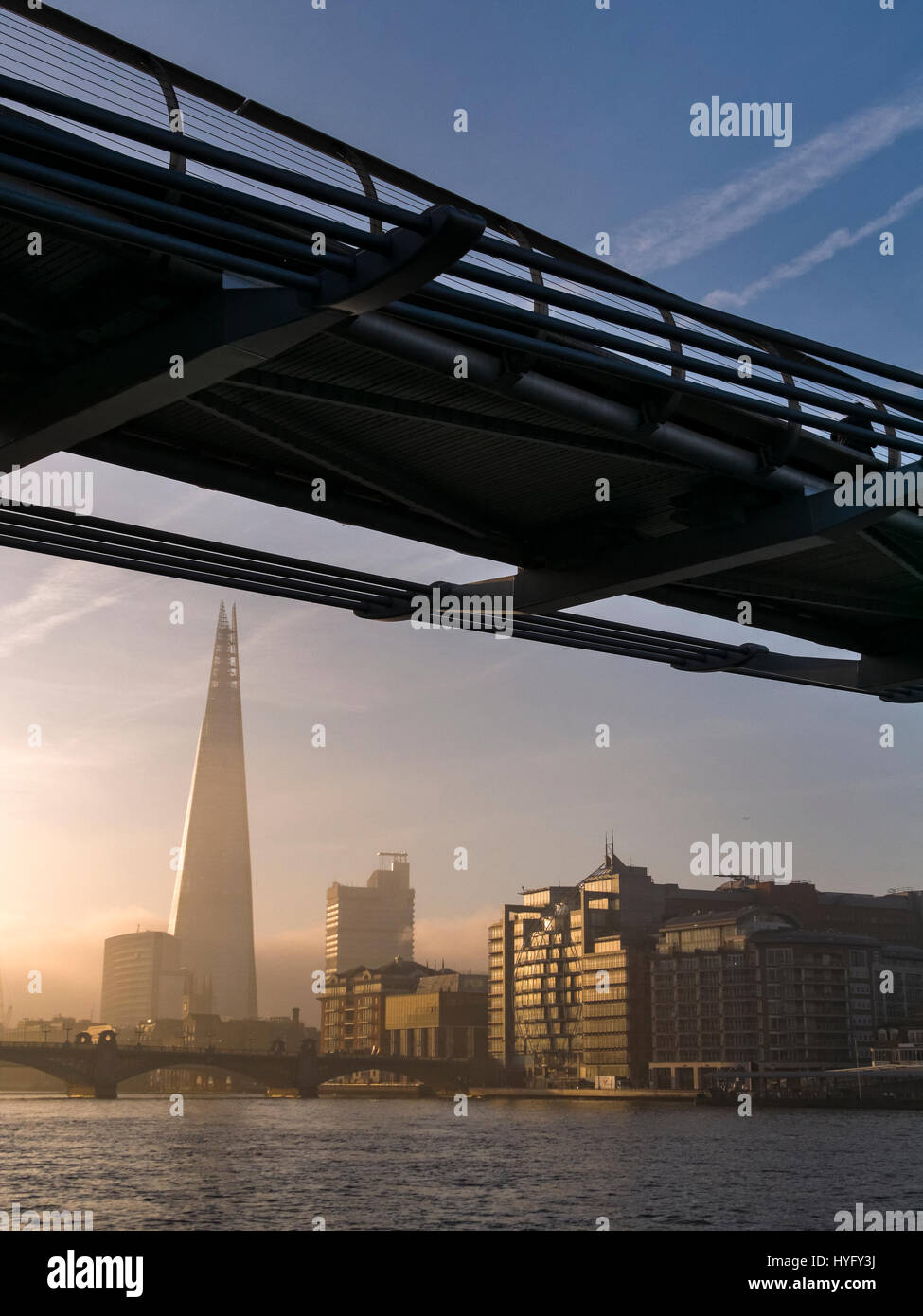 Sunrise over The Shard Building and River Thames, London. Stock Photo