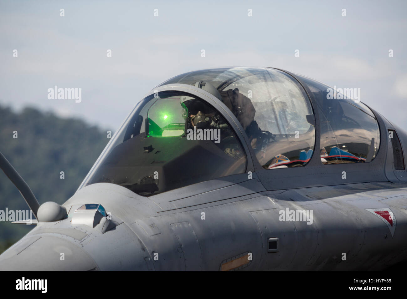 A Dassault Rafale Multirole fighter aircraft at the Langkawi International Maritime and Aerospace (LIMA) Exhibition - Stock Image