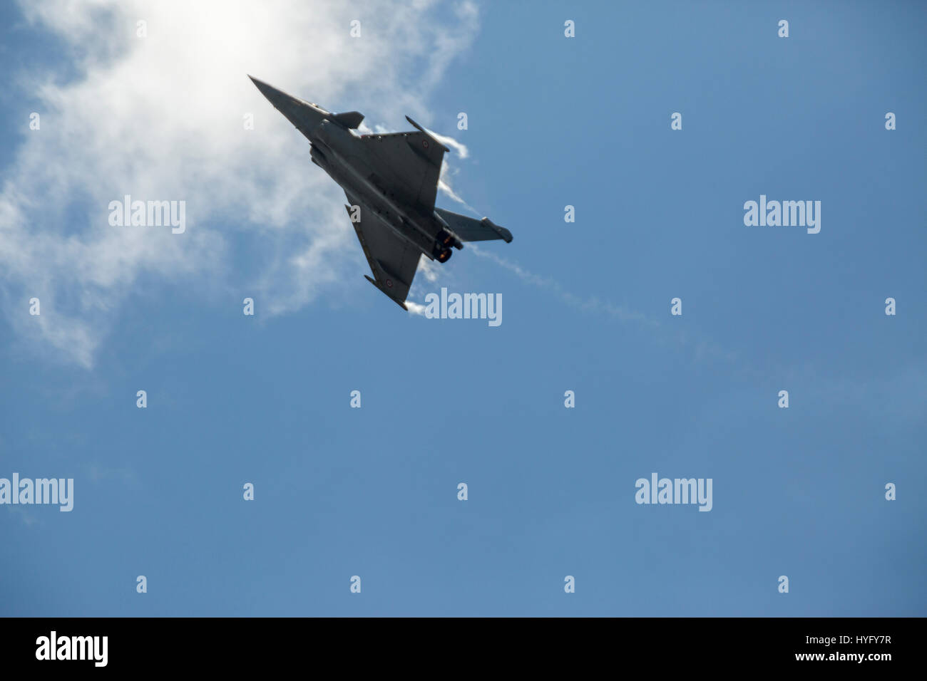 A Dassault Rafale Multirole fighter aircraft flies at the Langkawi International Maritime and Aerospace (LIMA) Exhibition - Stock Image