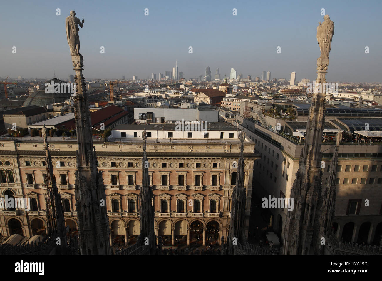 View of Milan from the roof of the Duomo di Milano. The Gothic Cathedral is the largest church in Italy. - Stock Image