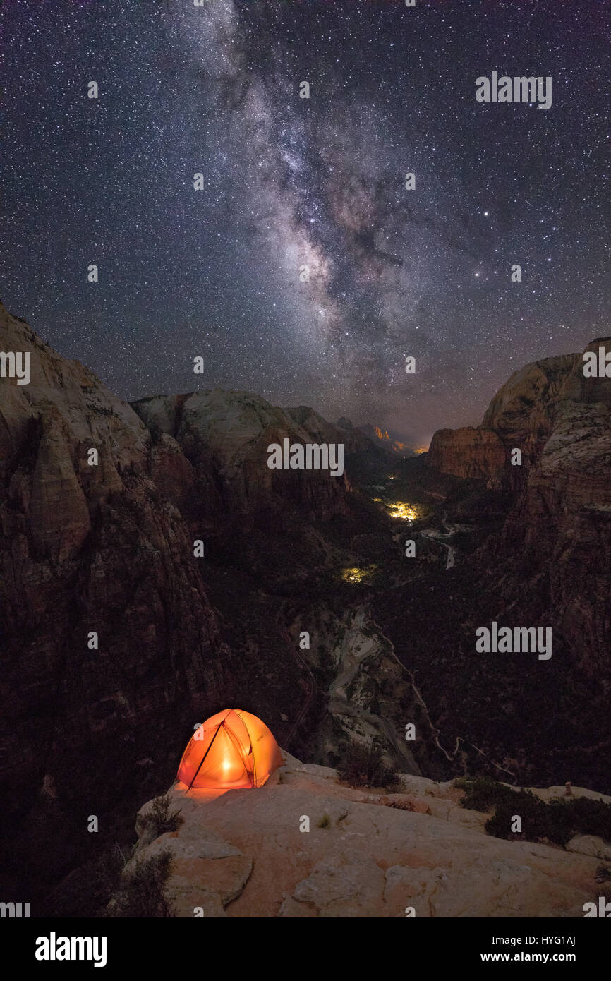 Angels Landing, Zion National Park.  Need to emphasize that the tent was used as a prop only. This is not a legitimate - Stock Image