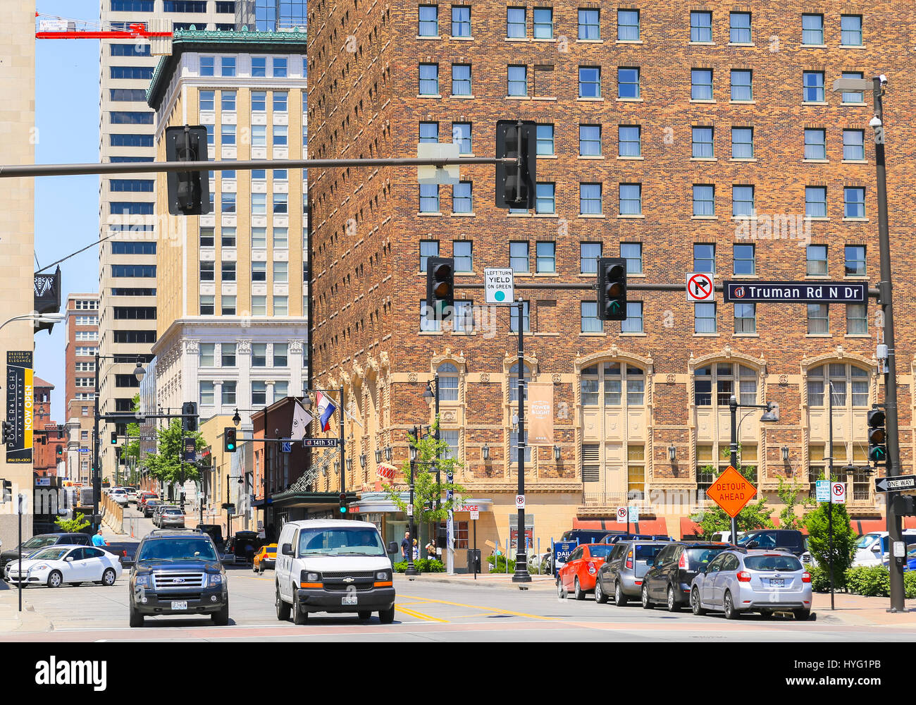 Kansas City, USA   May 21, 2016: Part Of The Power And Light District With  The Historic Hotel President Building In Front.
