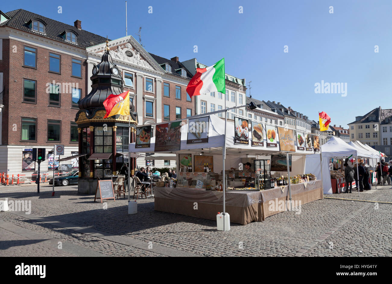 Nytorv Square at Støget in Copenhagen on a sunny spring day in April. Italian products sold and promoted from - Stock Image