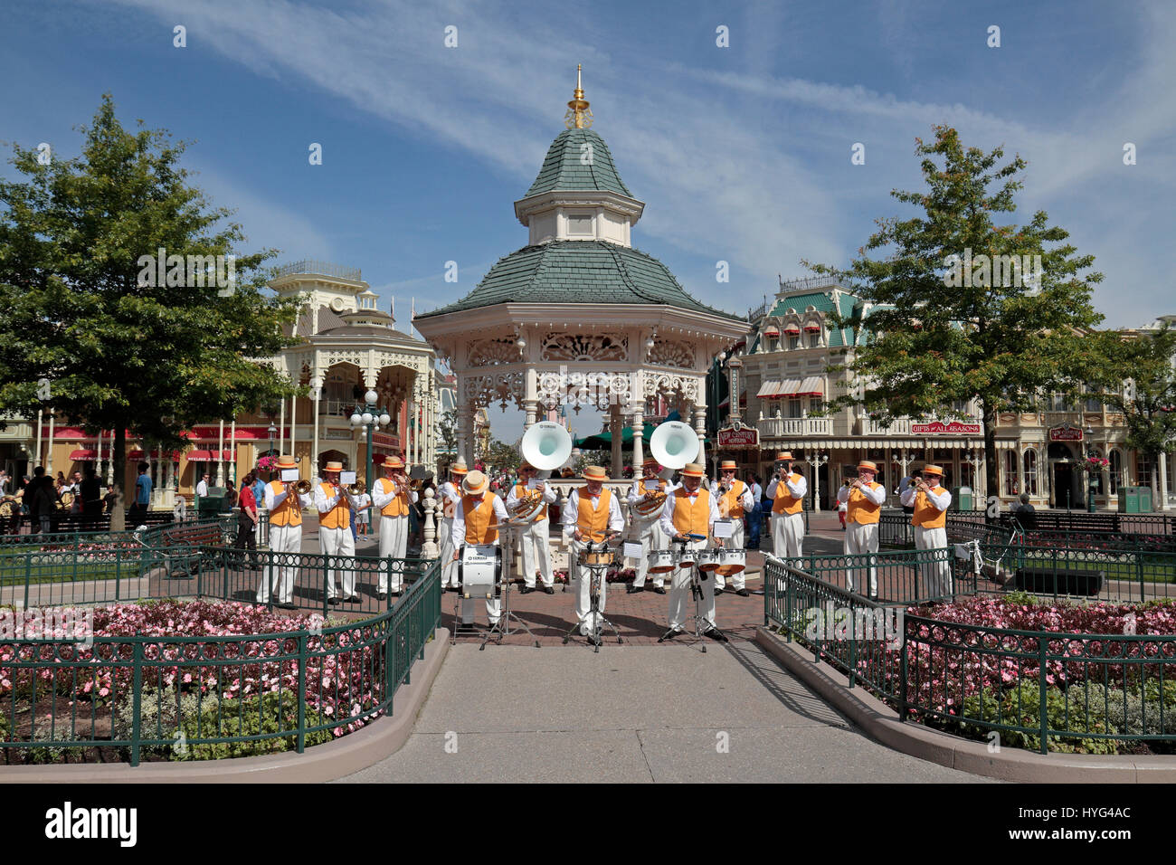 The Disneyland Summer brass band in fornt of the bandstand near the entrance of Disneyland Paris, Marne-la-Vallée, - Stock Image