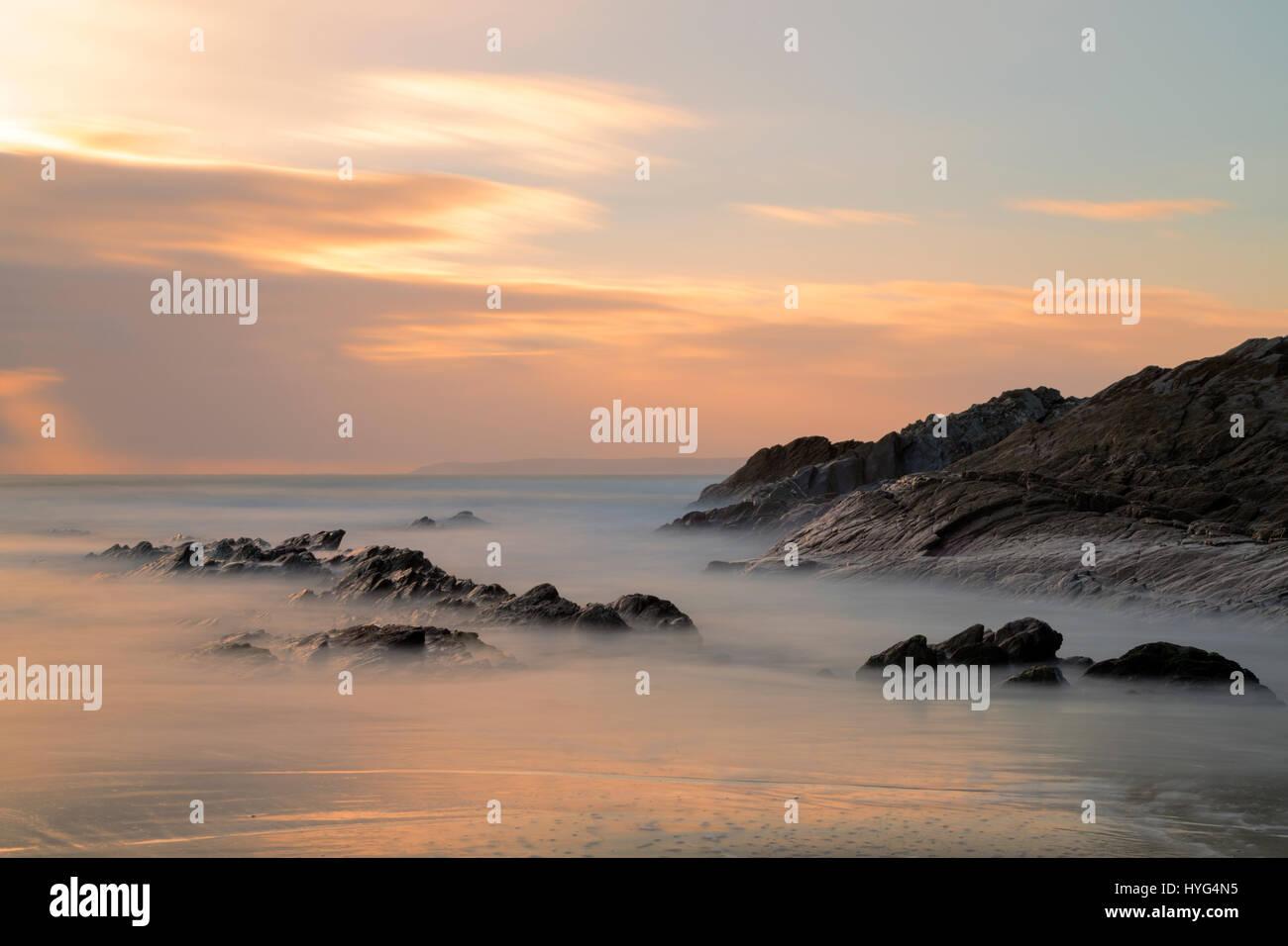 Sunset at Sharrow Point on the Rame Peninsula - Stock Image
