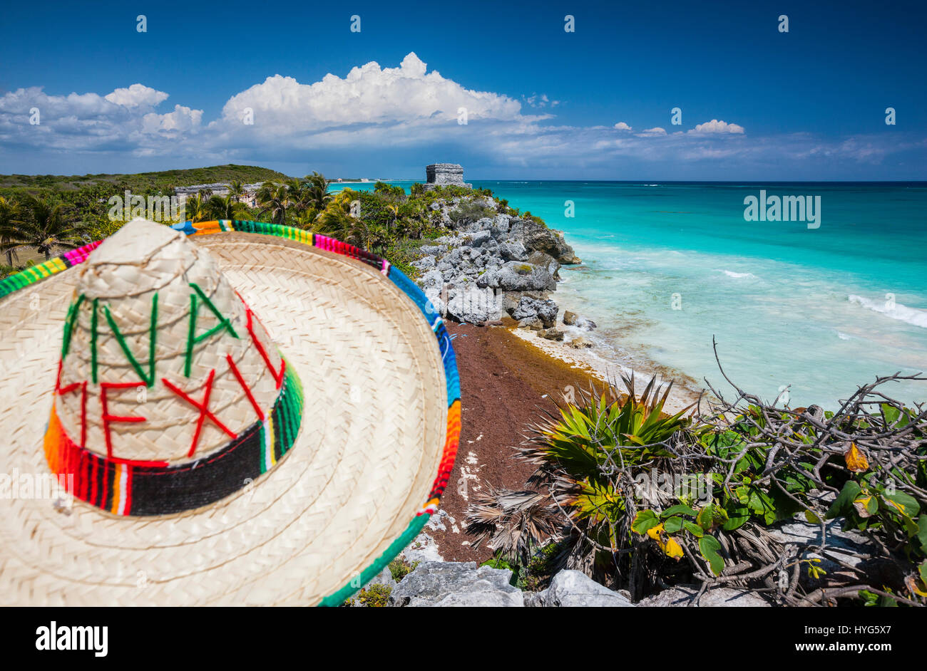 Sombrero and Mayan temple in Tulum, Mexico Stock Photo