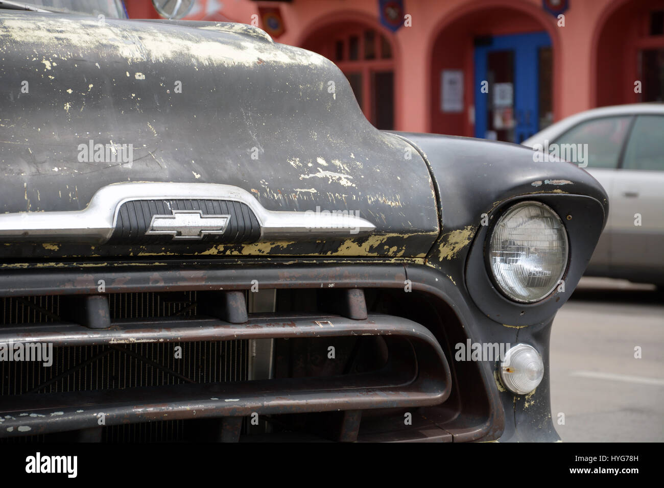 1957 Chevy Chevrolet Stock Photos Panel Van The Weathered Front End Of A Half Ton In Dallas Deep