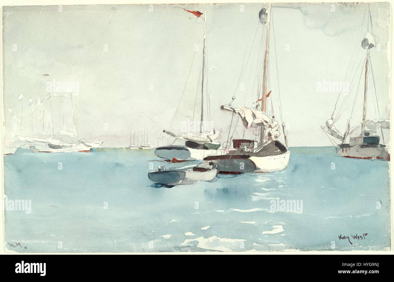 Hauling Anchor Winslow Homer Watercolor Reproductions Fine Art Print Key West