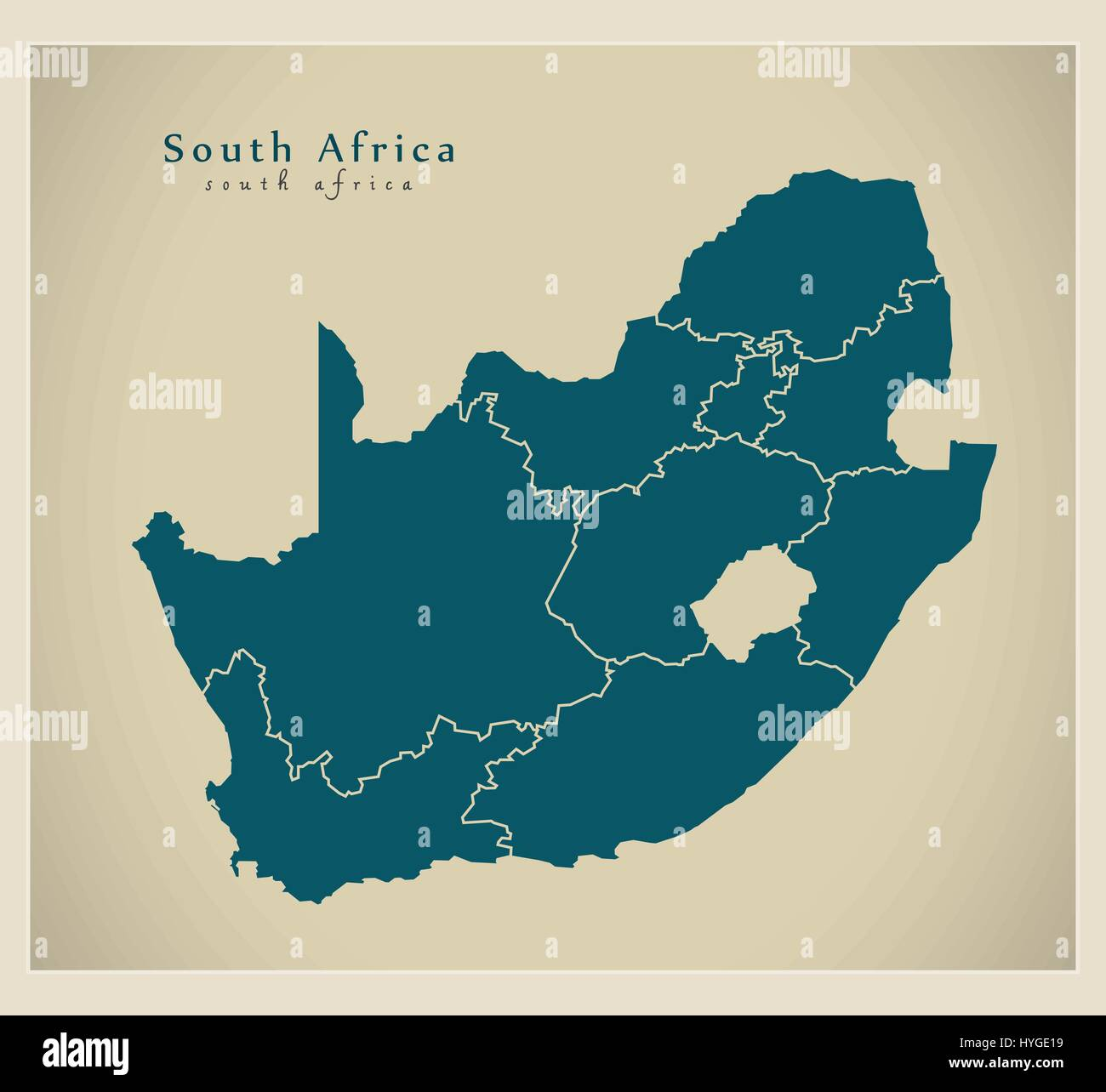 Modern Map Of Africa Modern Map   South Africa with provinces ZA Stock Vector Image