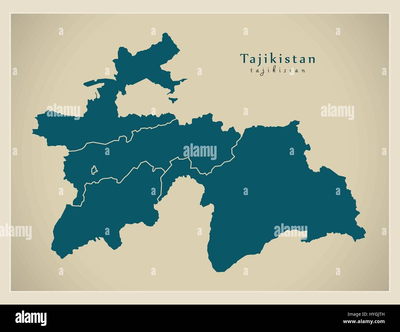 Modern Map - Tajikistan with provinces TJ - Stock Image