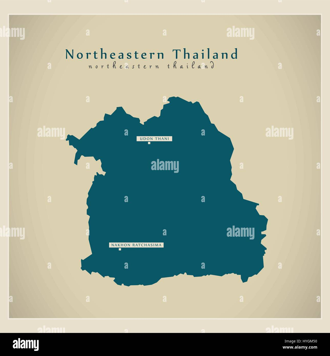 Modern Map - Northeastern Thailand TH - Stock Vector