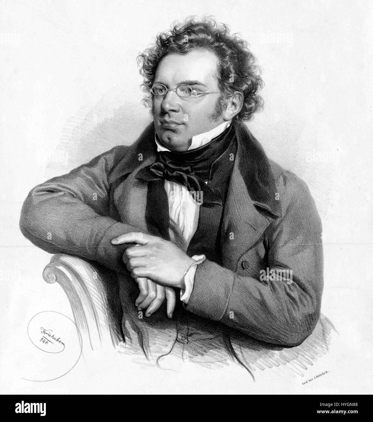 Austrian Composer Franz Schubert by Kriehuber Music Repro on Canvas or Paper