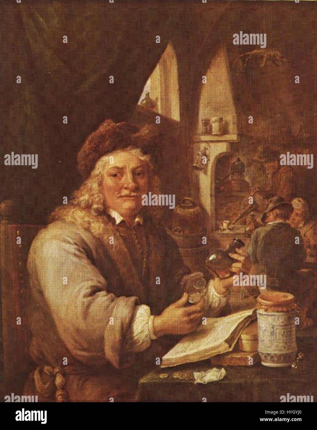 David Teniers the Younger   Self portrait as an alchemist - Stock Image