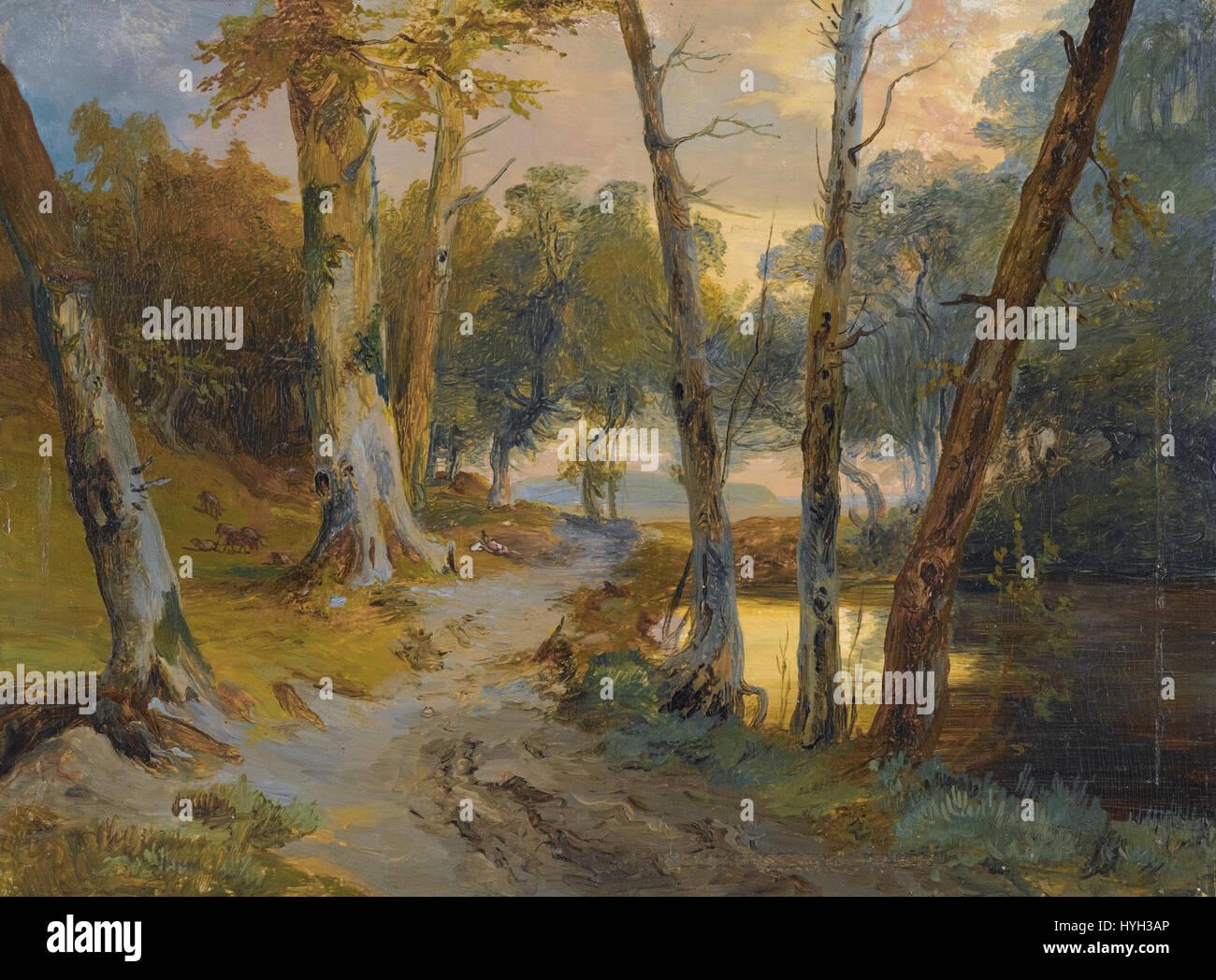 Carl Blechen   Wald mit kleinem Weiher - Stock Image