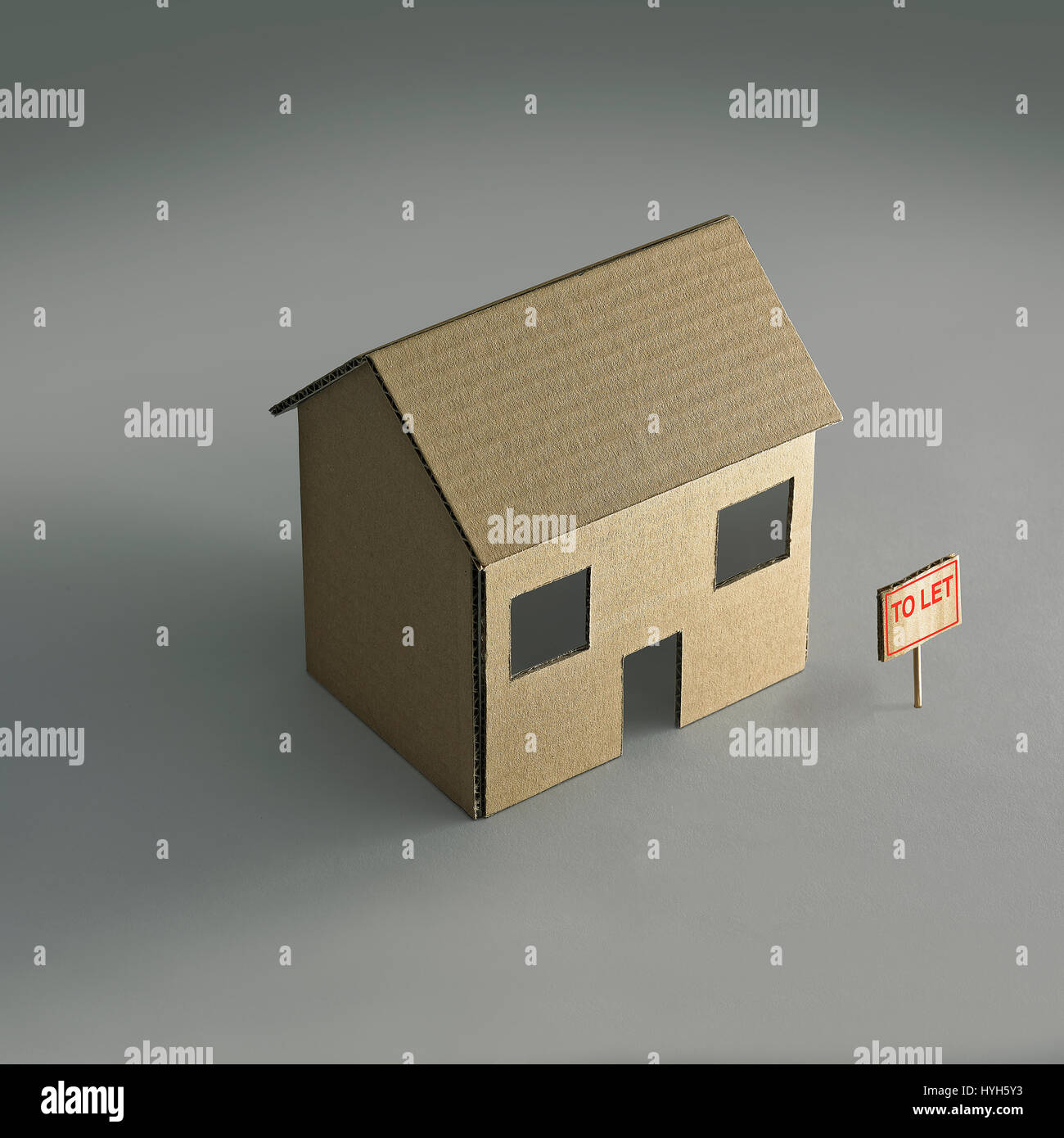 Cardboard House to let Stock Photo