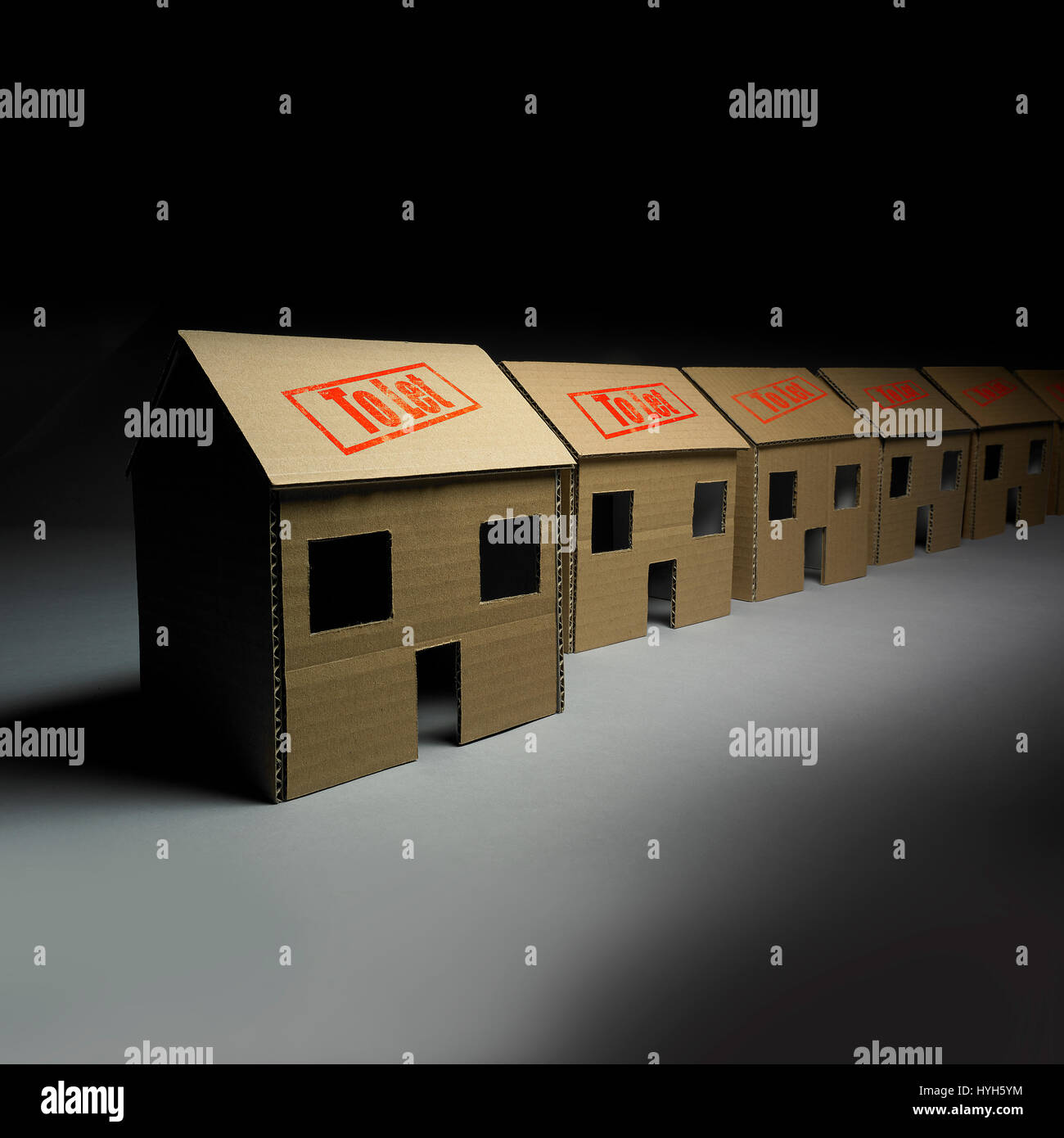 Row of Cardboard Houses all to let Stock Photo