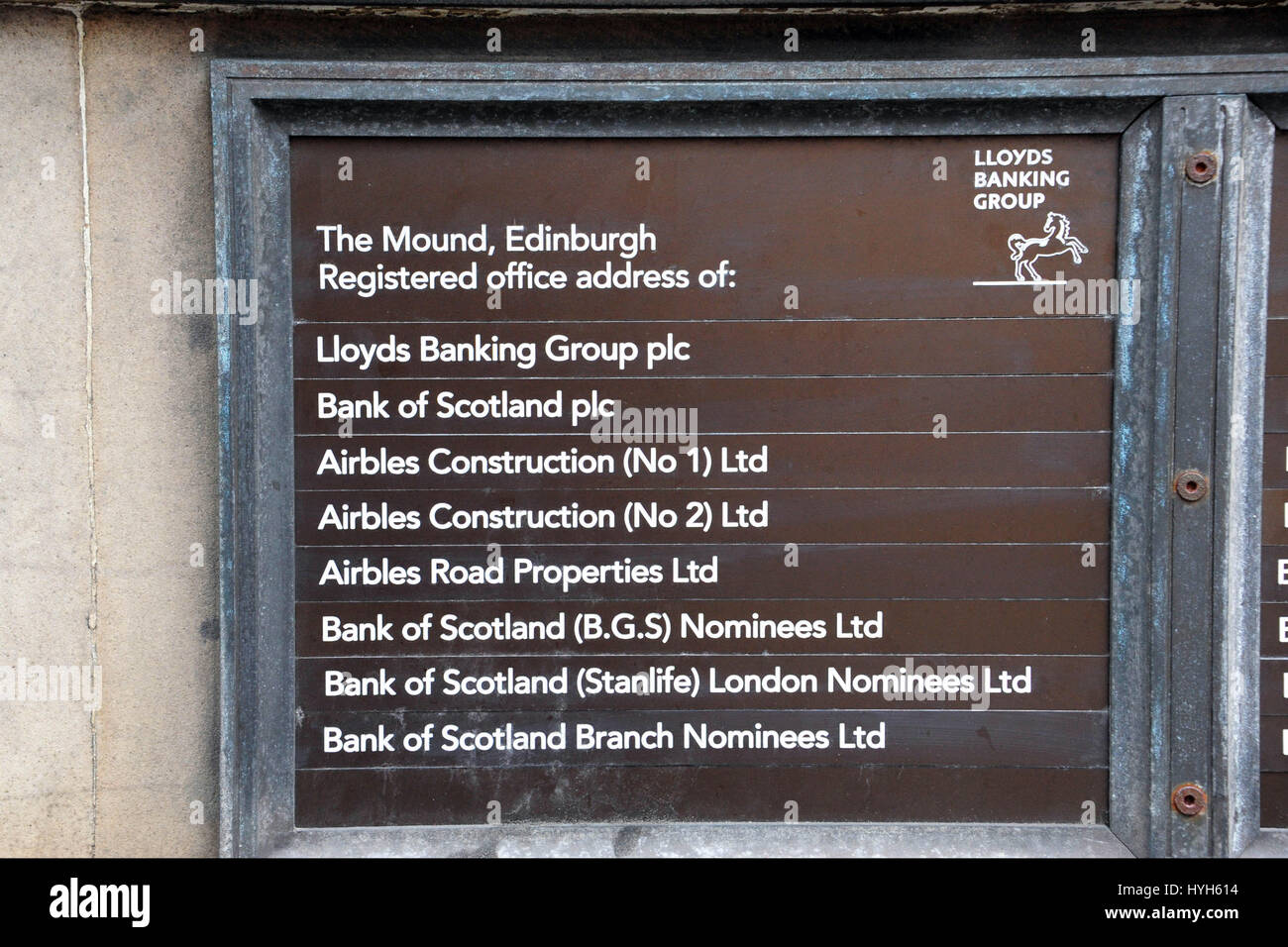 The brass plate outside the registered office of Lloyds Banking Group on The Mound in Edinburgh - Stock Image