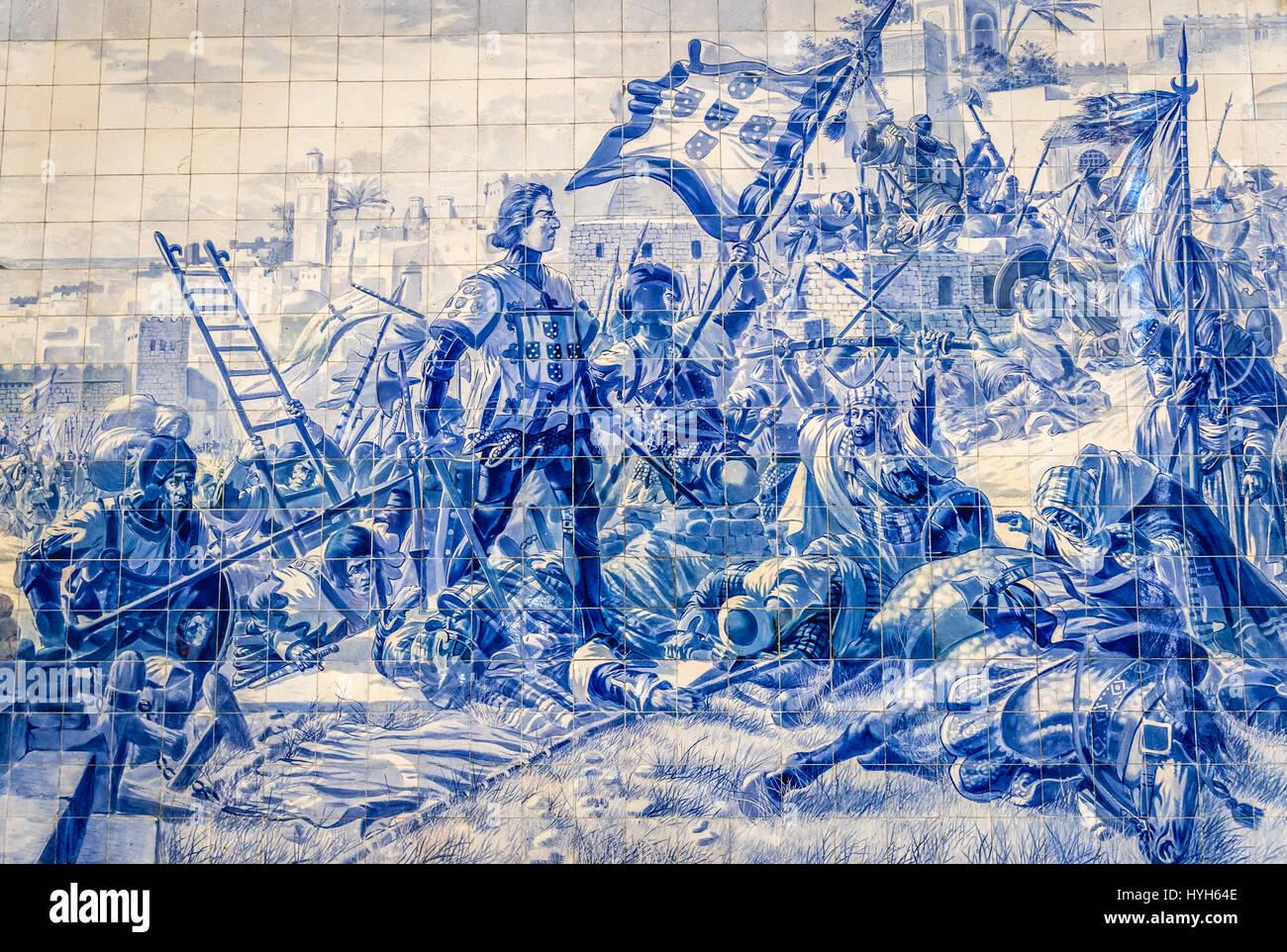 Azulejo tiles panel historical scene depict Prince Henry the Stock ...
