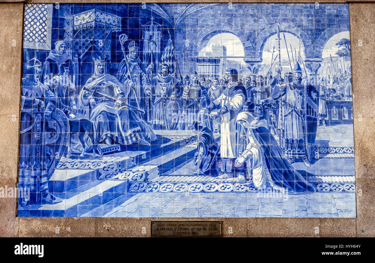 Azulejo tiles panel historical scene depict meeting of the knight ...