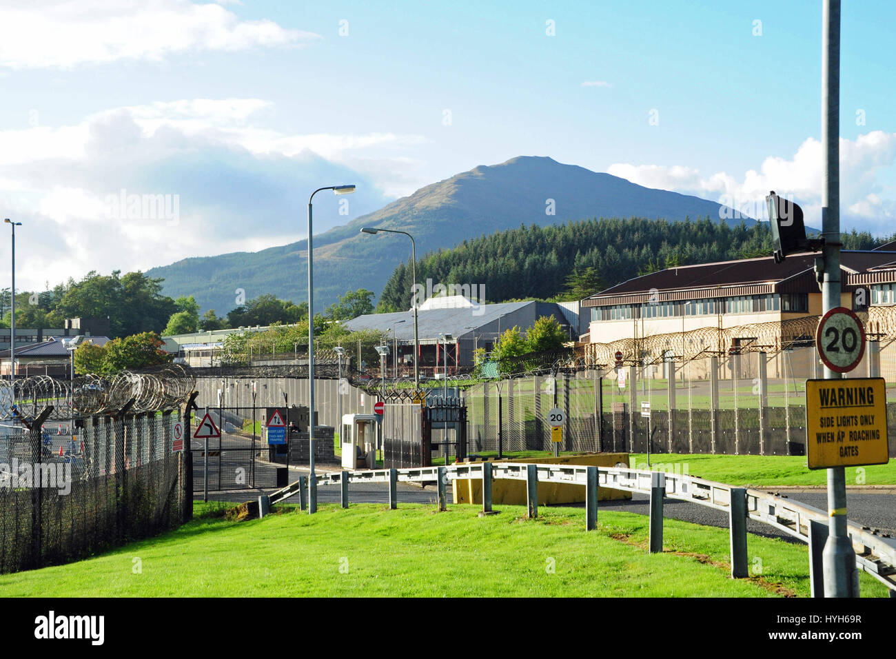 The Royal Naval Armaments Depot (RNAD Coulport) at Coulport on Loch Long, a few miles from the Trident nuclear submarine - Stock Image