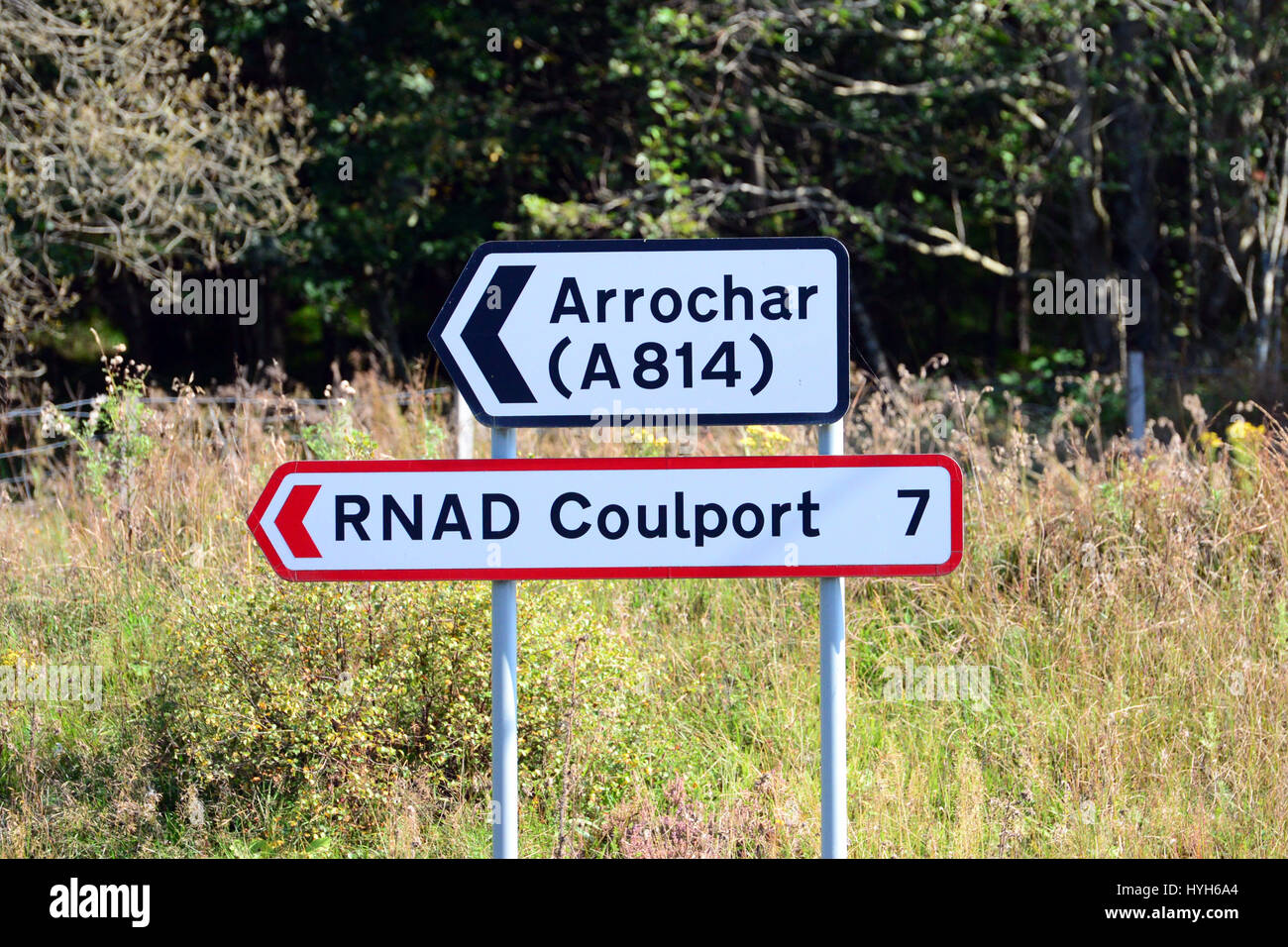 A road sign for the Royal Naval Armaments Depot (RNAD Coulport) at Coulport on Loch Long, a few miles from the Trident - Stock Image
