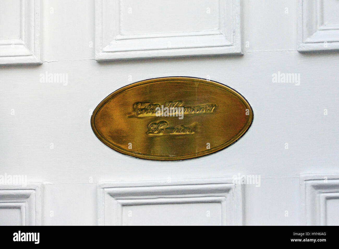 The well-polished brass plate on the door of Noble Grossart merchant bank in Edinburgh - Stock Image
