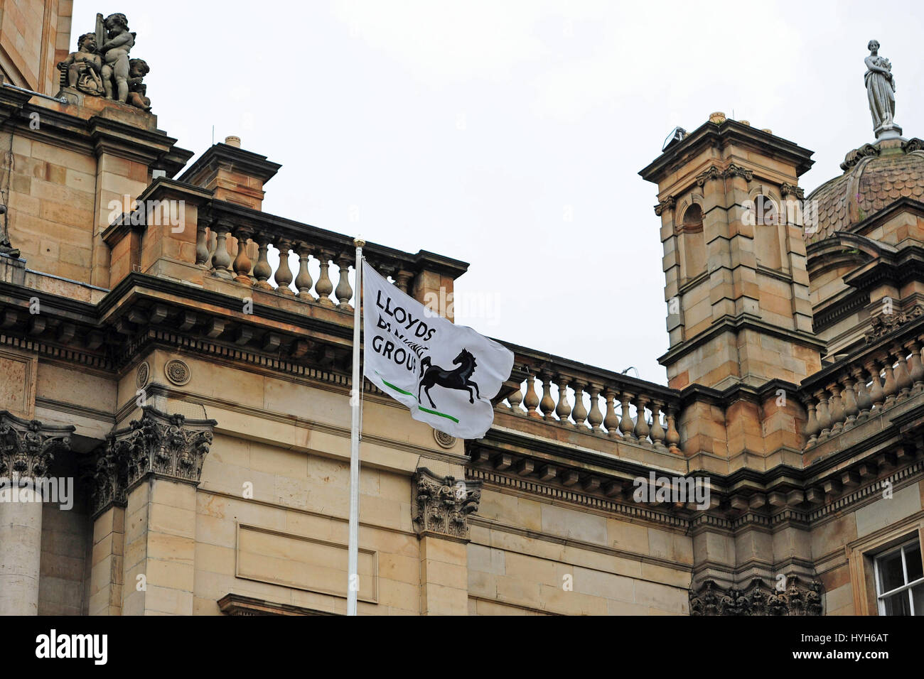 The Lloyds Banking Group flag flies over its registered office on The Mound in Edinburgh (File photo) - Stock Image
