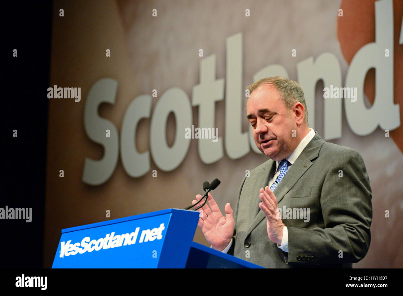 Scotland's First Minister Alex Salmond speaking at a Yes Scotland international media conference in Edinburgh, - Stock Image