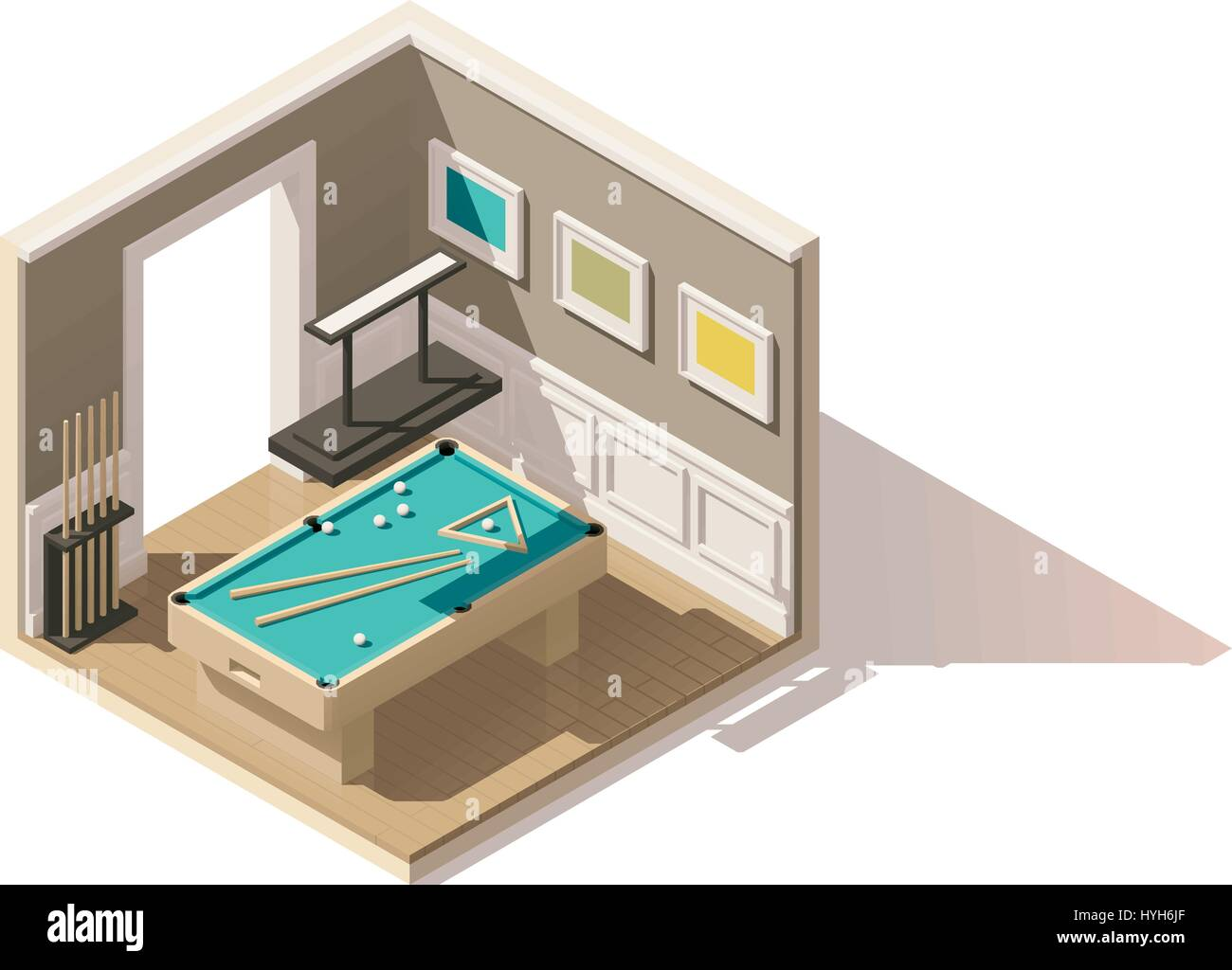 Vector isometric low poly pool room - Stock Vector