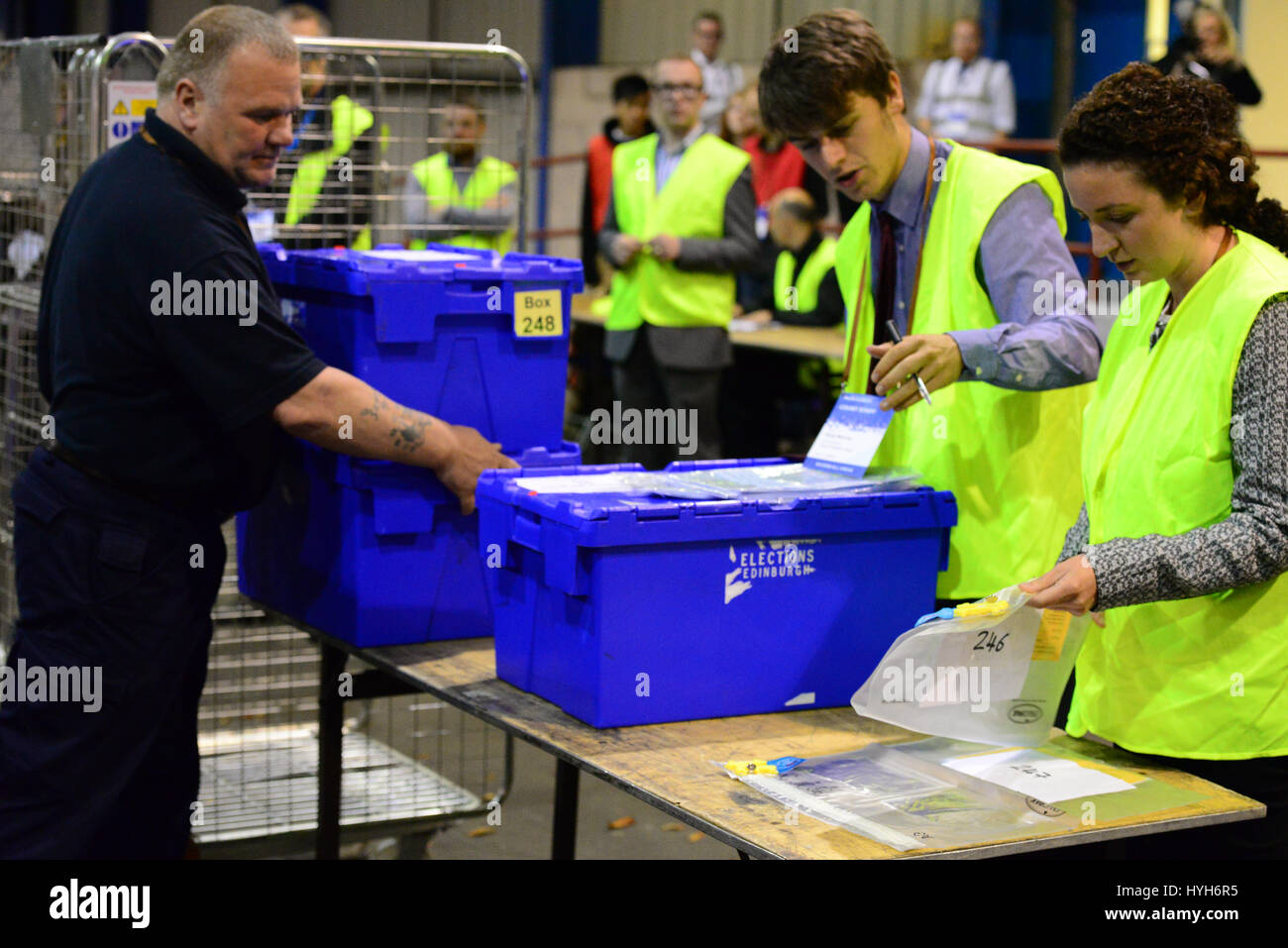 The first ballot boxes arrive at the Edinburgh count for the Scottish independence referendum - Stock Image