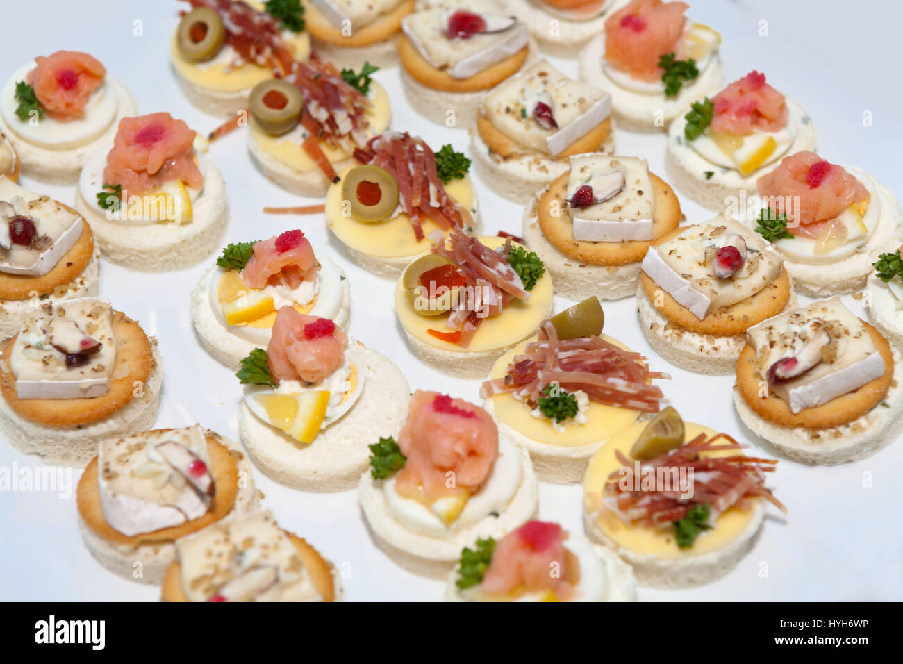 Assorted delicious canapes - Stock Image