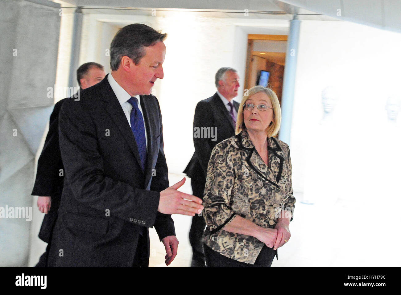 Prime Minister David Cameron in the Garden Lobby of the Scottish Parliament accompanied by the Presiding Officer - Stock Image