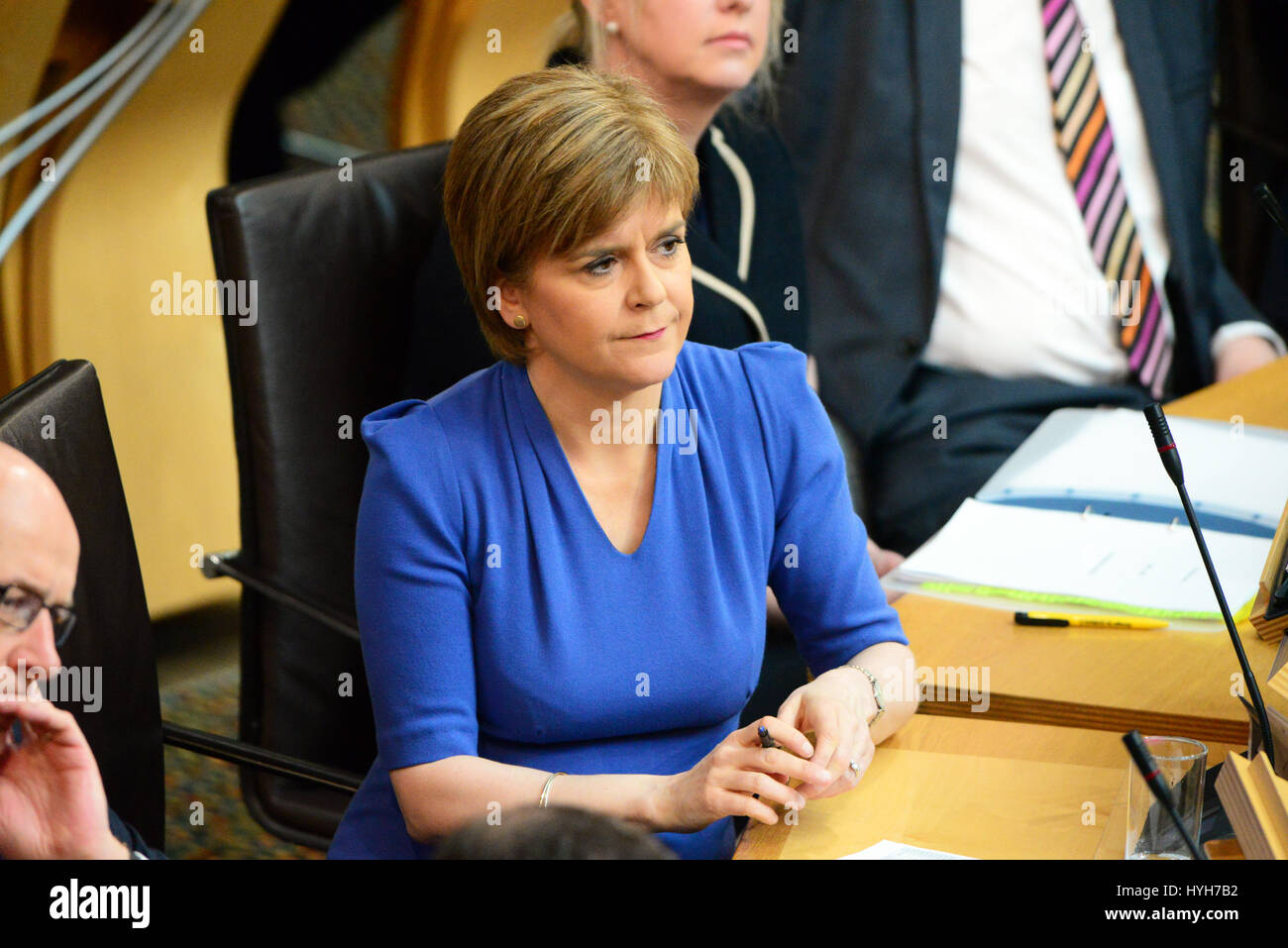 File image: Nicola Sturgeon pictured at First Minister's Questions in the Scottish Parliament on the day before - Stock Image