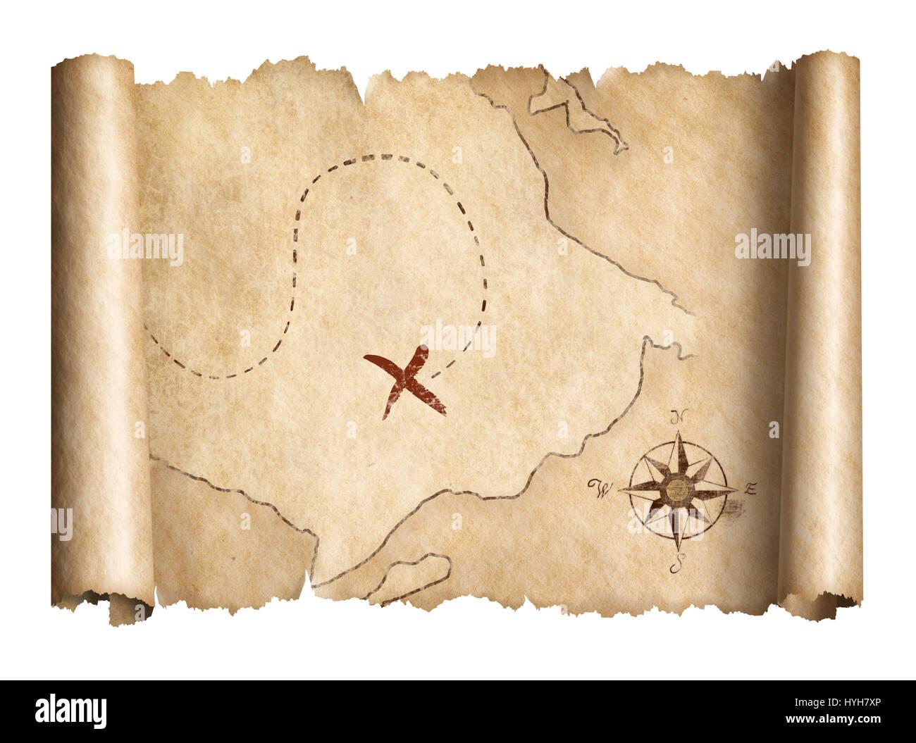 Old Pirates Treasure Map Scroll Stock Photos Old Pirates Treasure