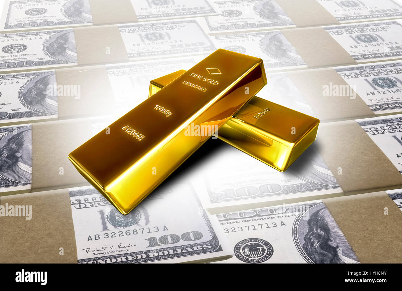 Two shiny precious bars of gold,isolated against the background. - Stock Image