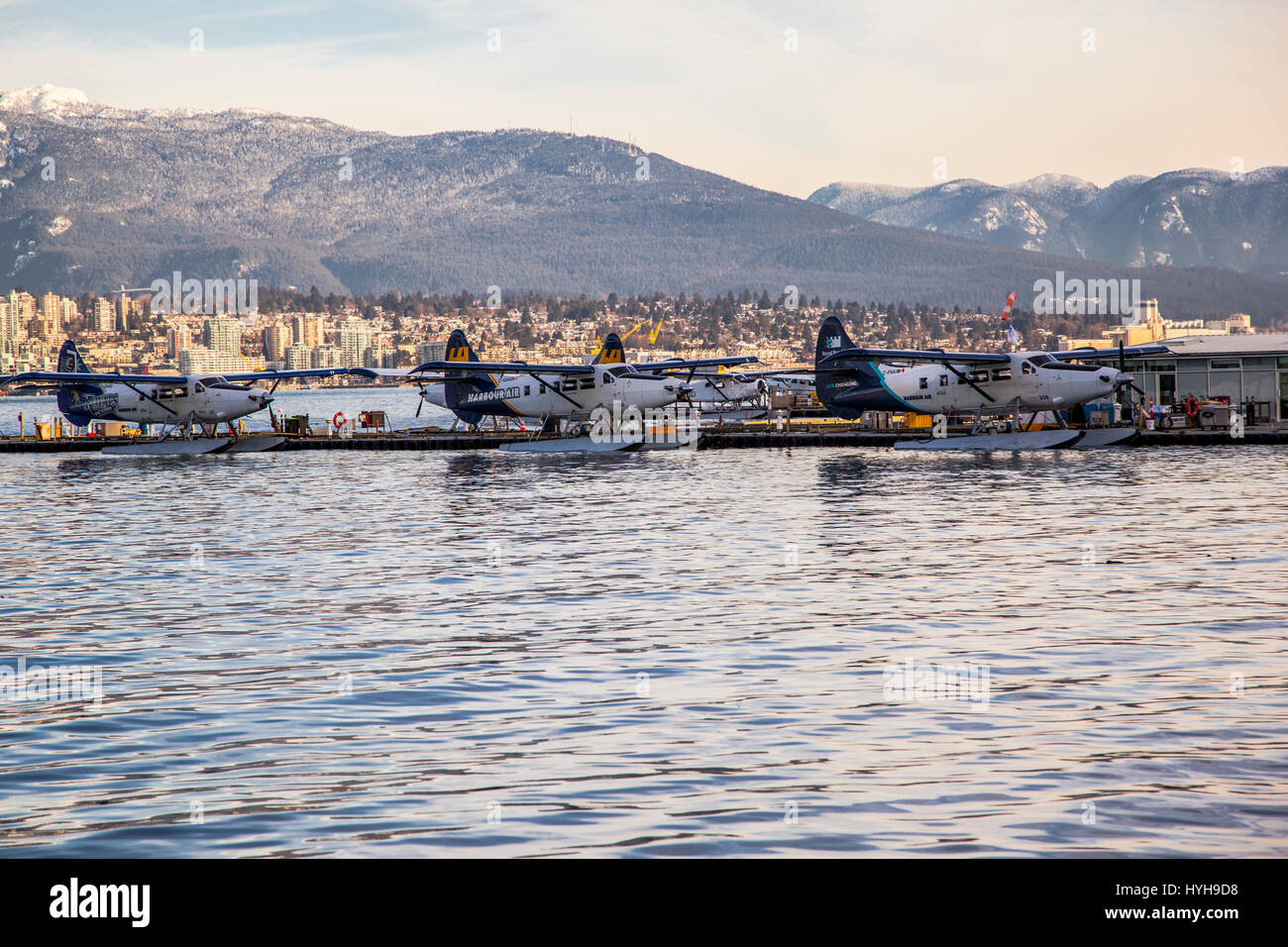 Canada British Columbia Vancouver Coal Harbour hydroplanes - Stock Image