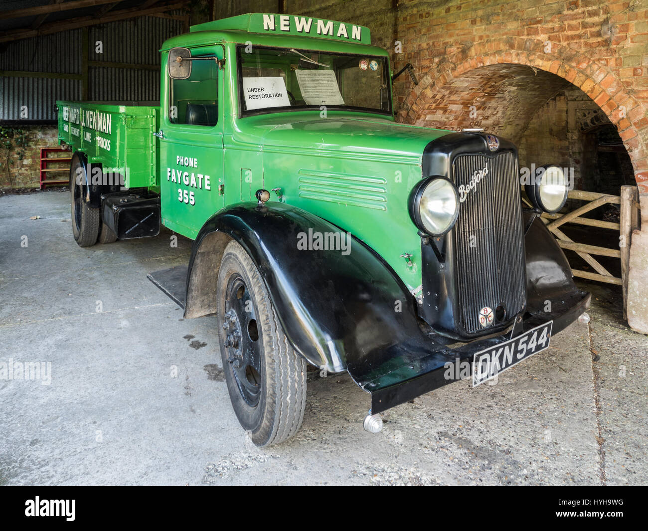 Pre-war 1930s Commercial Bedford W-Series 2-Ton Truck at Amberley Working Museum in West Sussex, England - Stock Image