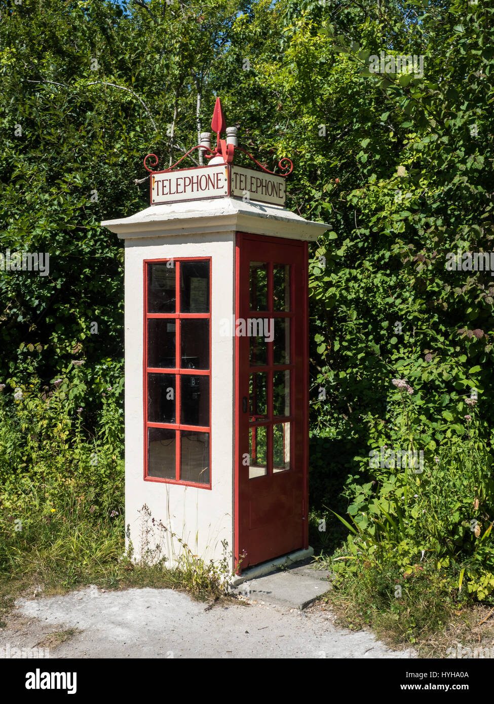 Vintage Telephone kiosk, K1, at the Amberley Working museum, West Sussex, UK - Stock Image