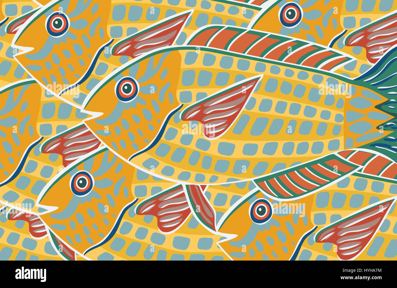 Yellow fish. An illustration about swimming in the same direction. - Stock Image