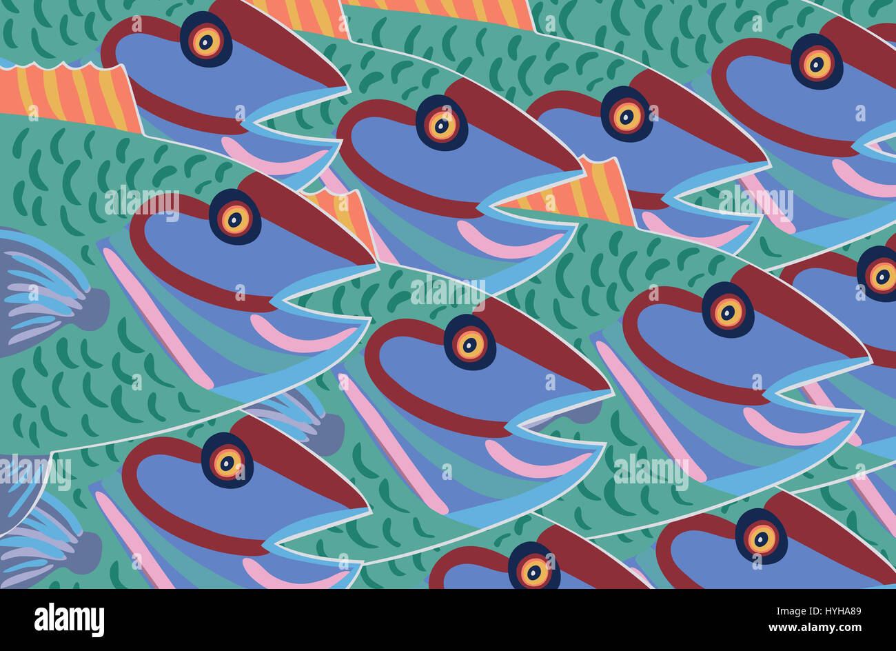 Blue fish. An illustration about swimming in the same direction. - Stock Image