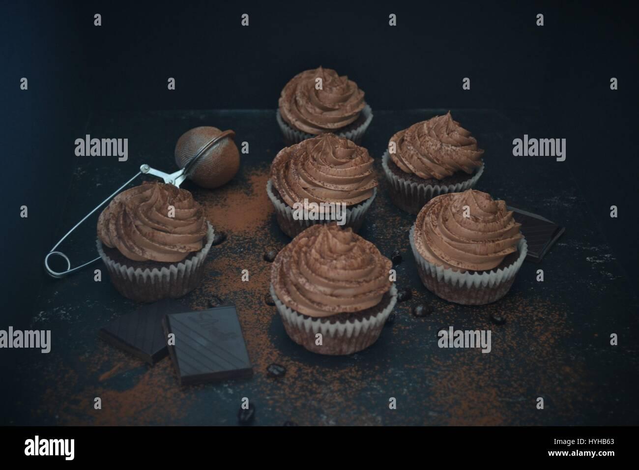 Chocolate Coffee Mocca Cupcake - Stock Image