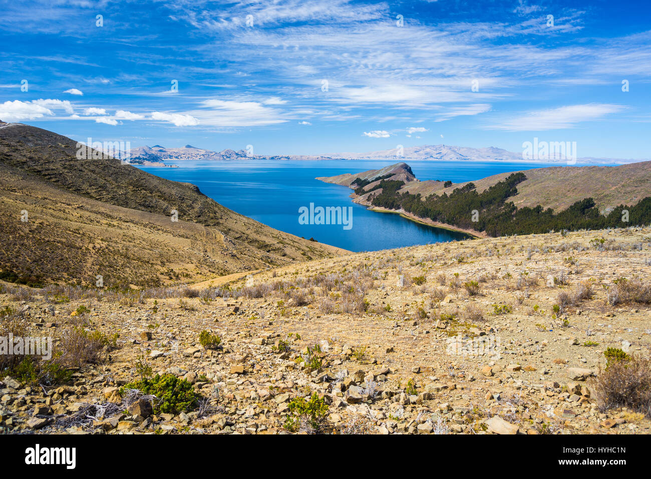 Scenic dramatic sky in winter season at Challapampa Bay on Island of the Sun, Titicaca Lake, among the most scenic - Stock Image